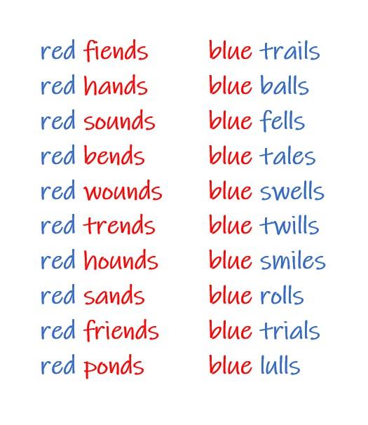 em red blue
